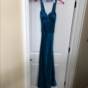 Pretty blue beaded strap dress. Perfect for prom
